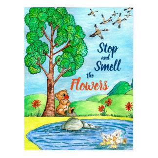 Stoppa och lukta blommavykortet vykort