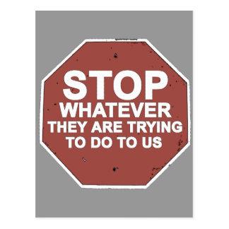 STOPPA spelar ingen roll dem är pröva att göra Vykort