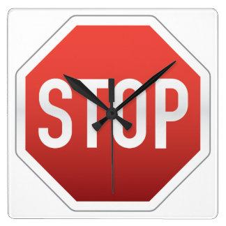 STOPPA undertecknar Fyrkantig Klocka