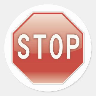 Stoppa undertecknar runt klistermärke