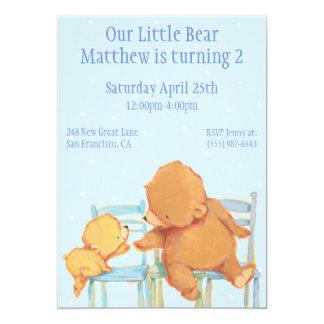 Stor brun björn och gul björnfödelsedag 12,7 x 17,8 cm inbjudningskort
