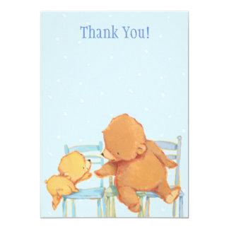 Stor brun björn och gult björntack 12,7 x 17,8 cm inbjudningskort
