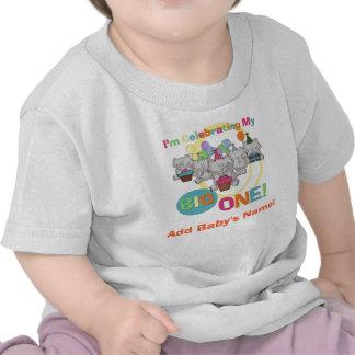 Stor en 1st födelsedagTshirt för elefant Tee Shirts