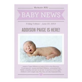 Stor flicka för nyheternafödelsemeddelande anpassningsbara tillkännagivanden