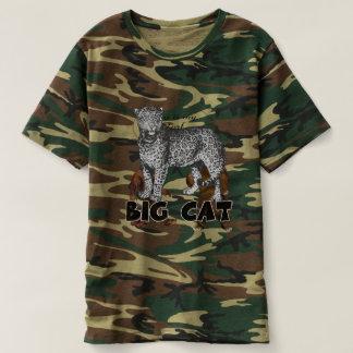 Stor kattLeopardmanar T-tröja för kamouflage T Shirt