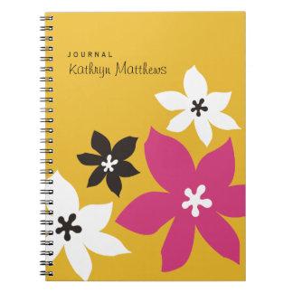 Stor modern journal för blommar för blommatryckgul anteckningsbok med spiral