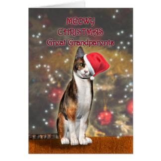 Stor- morföräldrar, en rolig katt i en julhatt hälsningskort