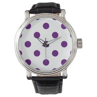 Stor polka dots - mörk Violet på vit Armbandsur