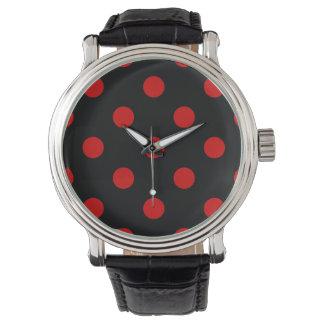 Stor polka dots - Rosso Corsa på svart Armbandsur