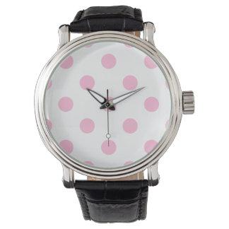Stor polka dots - sockervadd på vit armbandsur