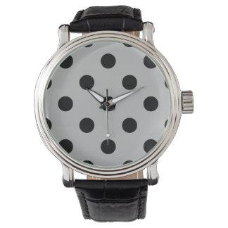 Stor polka dots - svärta på Light - grått Armbandsur
