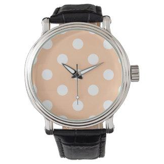 Stor polka dots - vit på djup persika armbandsur