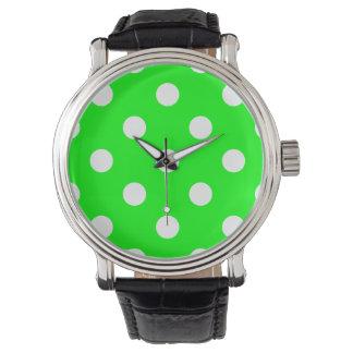 Stor polka dots - vit på elkraftgrönt armbandsur