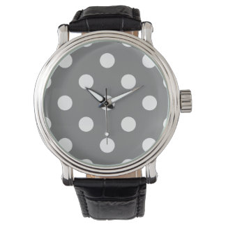 Stor polka dots - vit på grått armbandsur