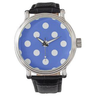 Stor polka dots - vit på kungliga blått armbandsur
