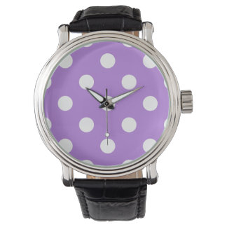 Stor polka dots - vit på lavendel armbandsur