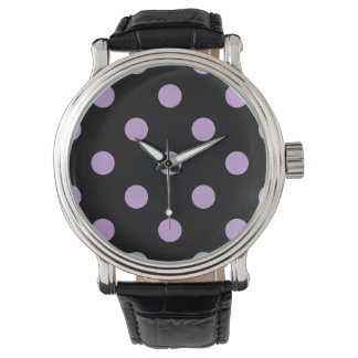 Stor polka dots - Wisteria på svart Armbandsur