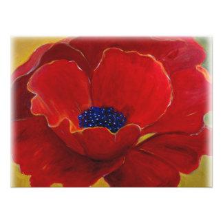 Stor röd blom- affisch fototryck