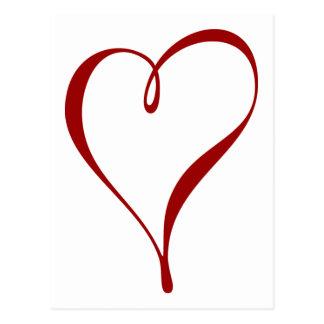 Stor röd hjärta sparade datumen vykortet vykort