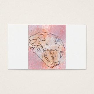 stor (röd) kattskalleakvarell, visitkort