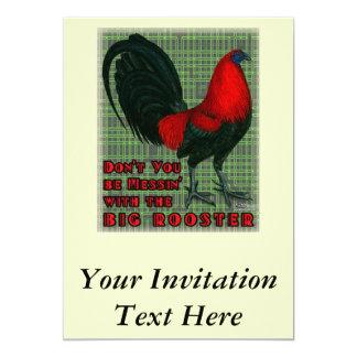 Stor röd tupp 12,7 x 17,8 cm inbjudningskort