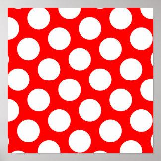 Stor röda och vitpolka dots poster