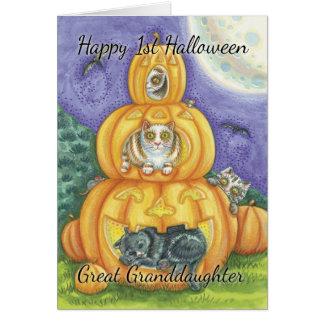 Stor- sondotter 1st Halloween med gulligt lite Hälsningskort