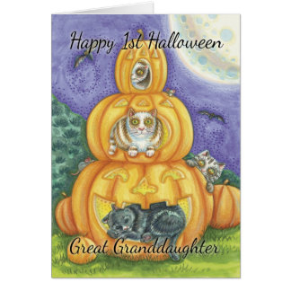 Stor- sondotter 1st Halloween med gulligt lite Hälsnings Kort