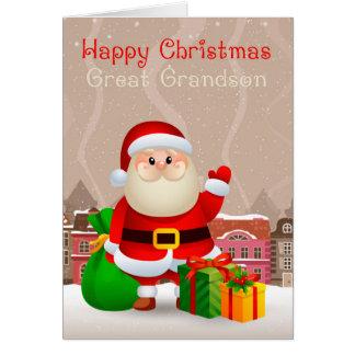 Stor- sonson Santa med säck- och gåvakortet Hälsningskort