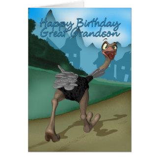 Stor- sonsonfödelsedagkort - tecknadOstrich - D