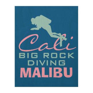 Stor sten som dyker Malibu Trätavla