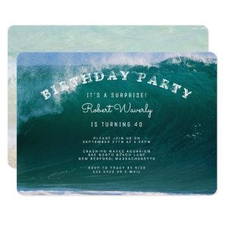 Stor surfaöverrrakningfödelsedagsfest inbjudan 12,7 x 17,8 cm inbjudningskort