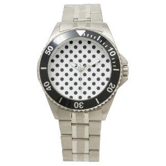 Stor svart polka dots på mjuka rosor armbandsur