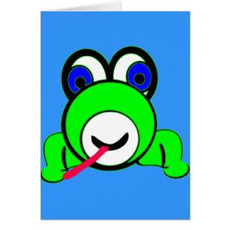 Stor synad grön groda hälsningskort