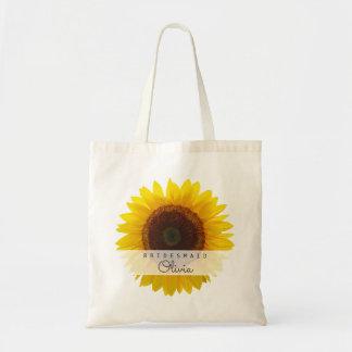 Stor toto för solrosbrudtärnapersonlig tygkasse
