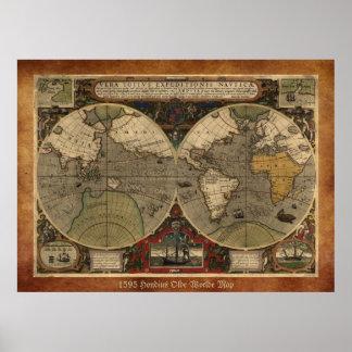 """Stor """"världskarta 1595 av Hondius"""" historisk karta Poster"""