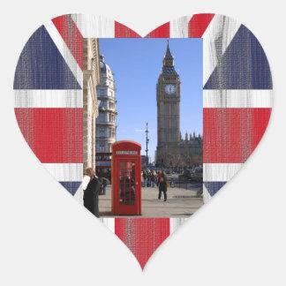 Stora Ben och röda Telephone boxas i London Hjärtformat Klistermärke