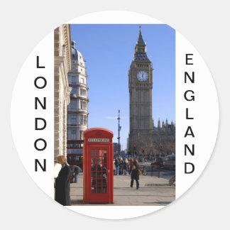Stora Ben och röda Telephone boxas i London Runt Klistermärke