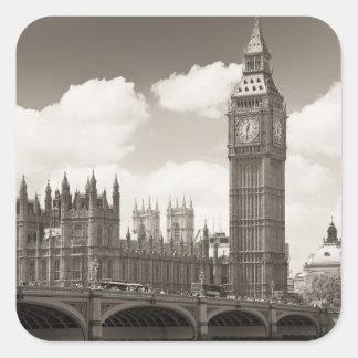 Stora Ben tar tid på torn London Fyrkantigt Klistermärke