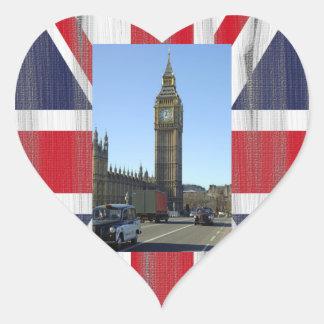 Stora Ben tar tid på torn London Hjärtformat Klistermärke