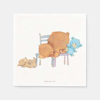 Stora bruna björn, Calico & stolar för Servett