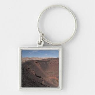 Stora krater fyrkantig silverfärgad nyckelring