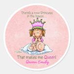 Storasyster - drottning av princessen runda klistermärken