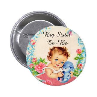 Storasystern som är vintagebaby shower, knäppas standard knapp rund 5.7 cm