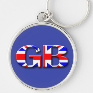 Storbritannien flagga rund silverfärgad nyckelring