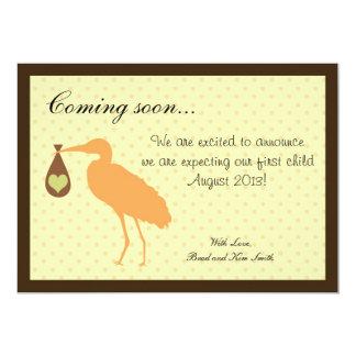 Stork för gravidmeddelandepersonlig 12,7 x 17,8 cm inbjudningskort