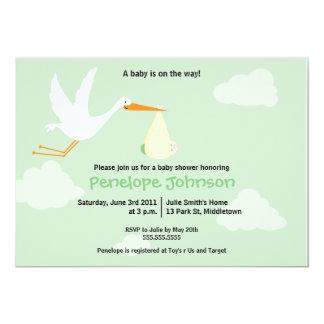 Storkbaby showerinbjudan - pojke/flicka 12,7 x 17,8 cm inbjudningskort