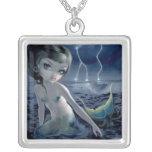 Storm för blixt för sjöjungfru för halsband med fyrkantigt hängsmycke