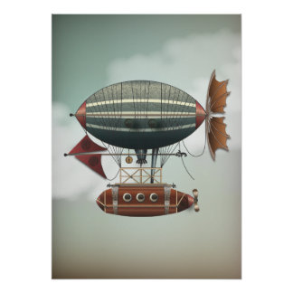Stormig himmelAirshipAleutian   Steampunk reser Poster