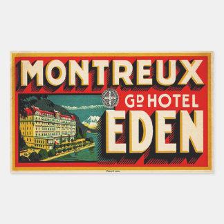 Storslaget hotell Eden (Montreux frankriken) Rektangulärt Klistermärke